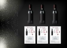 A simple design of realistic bottles of wine and wine cards with descriptions and characteristics of the wine on a black Royalty Free Stock Photo