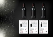 A simple design of realistic bottles of wine and wine cards with descriptions and characteristics of the wine on a black Royalty Free Stock Image