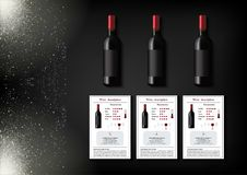 A simple design of realistic bottles of wine and wine cards with descriptions and characteristics of the wine on a black Royalty Free Stock Photography