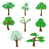 Simple design trees set Royalty Free Stock Photos