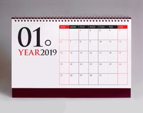 Simple desk calendar for January 2019 royalty free stock images