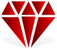 Simple diamond, jewelry sign, symbol. Precious stone, ruby icon, Stock Photography