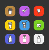 Simple different beverages icons Stock Photography