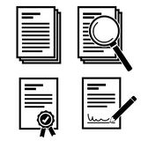 Simple document and search document with magnifying glass icon set vector stock illustration