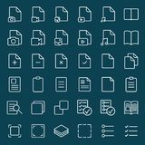 Simple document line icons set on blue background Royalty Free Stock Photo