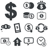 Simple dollar icon set. Black icons with different dollar usage on white background Royalty Free Stock Photos