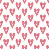 Simple donuts heart seamless vector pattern. Valentines day background stock illustration
