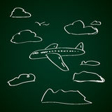 Simple doodle of an aeroplane Stock Images