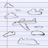 Simple doodle of an aeroplane Stock Photography