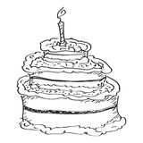 Simple doodle of a birthday cake Stock Images