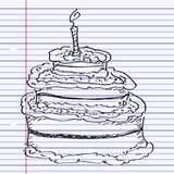 Simple doodle of a birthday cake Royalty Free Stock Photos