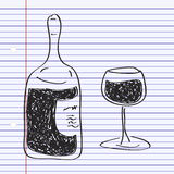 Simple doodle of a bottle of wine Royalty Free Stock Photos