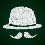 Simple doodle of a bowler hat and moustache Royalty Free Stock Photos