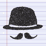 Simple doodle of a bowler hat and moustache Royalty Free Stock Photo