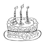 Simple doodle of a cake Stock Photo