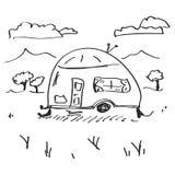 Simple doodle of a caravan Stock Photo