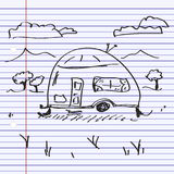 Simple doodle of a caravan Royalty Free Stock Photography