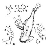 Simple doodle of a champagne bottle Royalty Free Stock Photos
