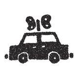 Simple doodle of a clockwork car Stock Photos