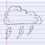 Simple doodle of a cloud with lightning Stock Image