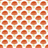 Simple doodle cute amanita pattern. Fly agaric hand drawn seamless background. Stock Photos