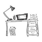 Simple doodle of a desk Royalty Free Stock Image