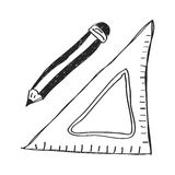 Simple doodle of drawing equipment Royalty Free Stock Image