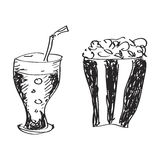 Simple doodle of a drink and popcon Stock Image