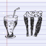 Simple doodle of a drink and popcon Royalty Free Stock Images