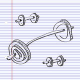 Simple doodle of a dumbell Stock Photography