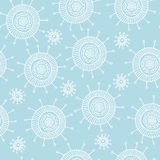 Simple doodle flower blue pattern. Seamless pastel abstract background. Stock Image