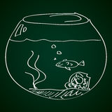 Simple doodle of a goldfish bowl Royalty Free Stock Image