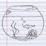 Simple doodle of a goldfish bowl Royalty Free Stock Photography