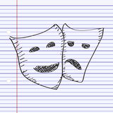 Simple doodle of a happy and sad mask Royalty Free Stock Photography