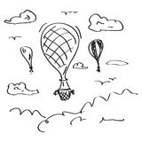 Simple doodle of a hot air balloon Royalty Free Stock Photos