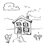Simple doodle of a house Royalty Free Stock Image
