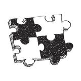 Simple doodle of a jigsaw piece Royalty Free Stock Images
