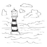 Simple doodle of a lighthouse Stock Images