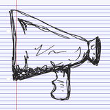 Simple doodle of a megaphone Stock Images