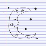 Simple doodle of a moon Royalty Free Stock Photo