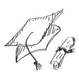 Simple doodle of a mortar board. Simple hand drawn doodle of a mortar board Royalty Free Stock Image