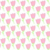 Simple doodle pink tulip pattern. Cute pastel flower seamless background. Summer wallpaper. Vector illustration Royalty Free Stock Image
