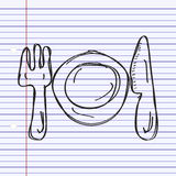 Simple doodle of a place setting Stock Photo