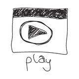 Simple doodle of a play symbol Royalty Free Stock Images