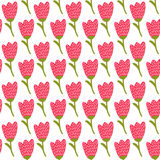 Simple doodle red tulip pattern. Cute flower seamless background. Summer wallpaper. Royalty Free Stock Images
