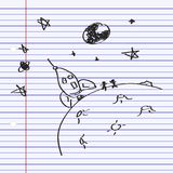 Simple doodle of a rocket on the moon Stock Photos