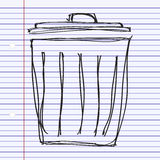 Simple doodle of a rubbish bin. Simple hand drawn doodle of a rubbish bin Stock Photo