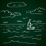 Simple doodle of a sailboat Royalty Free Stock Photos