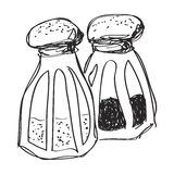Simple doodle of salt and pepper pots Stock Images