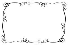 Flourish Vector Frame. Rectangle with squiggles, twirls and embellishments for image and text elements. Hand drawn black. Simple doodle, scribble border, sketch vector illustration
